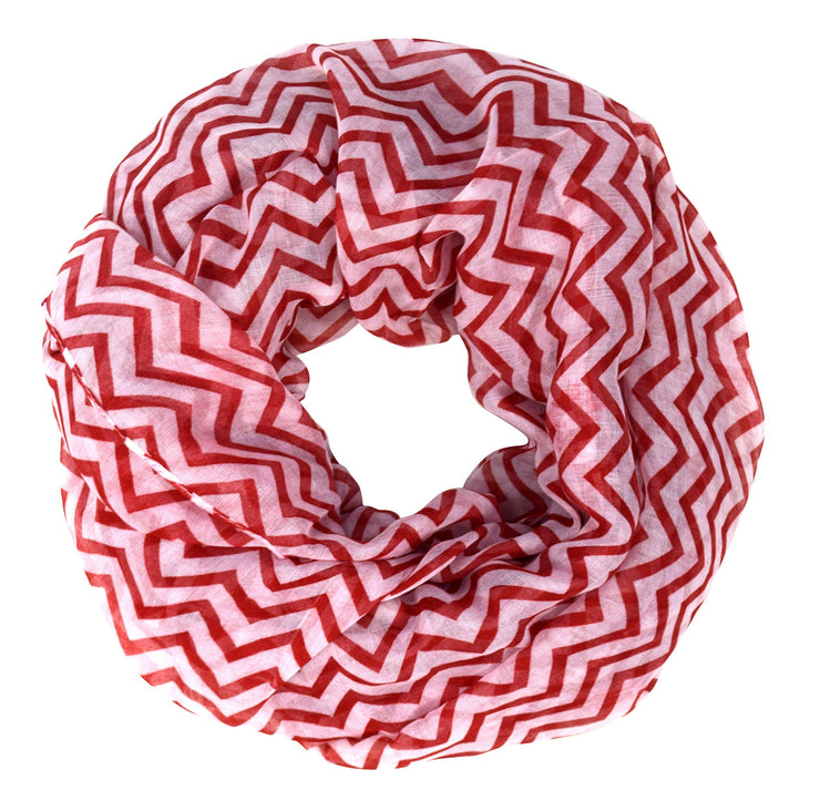Red & White Peach Couture Beautiful Classic Lightweight Sheer Chevron Infinity Loop Scarf