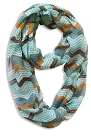 Peach Couture Modern Radiant Multicolored Chevron Geometric Infinity Loop Scarf
