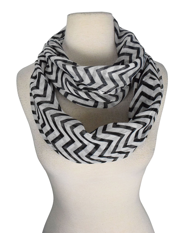Beautiful Classic Lightweight Sheer Chevron Infinity Loop Scarf
