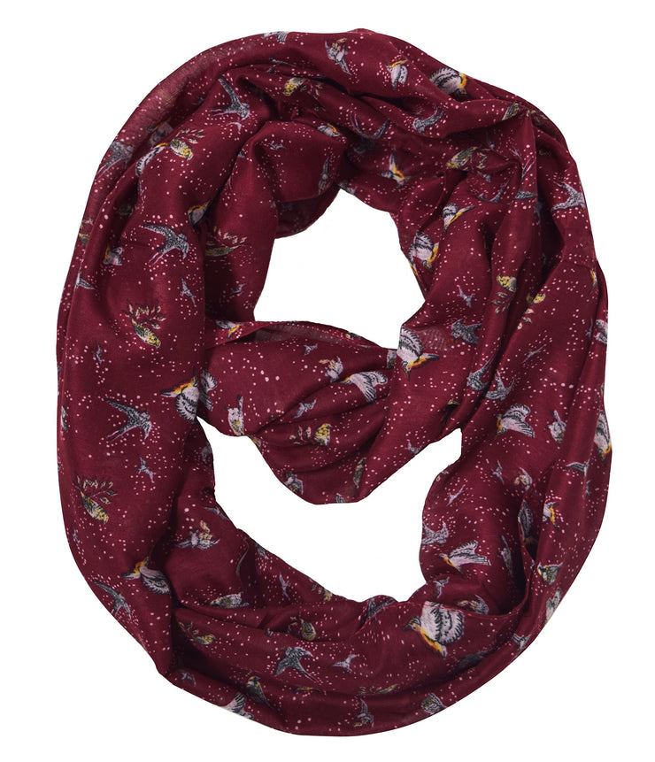 Sheer Bird Print Scarves For Women Infinity Scarf Circle Loops (Maroon Bird)