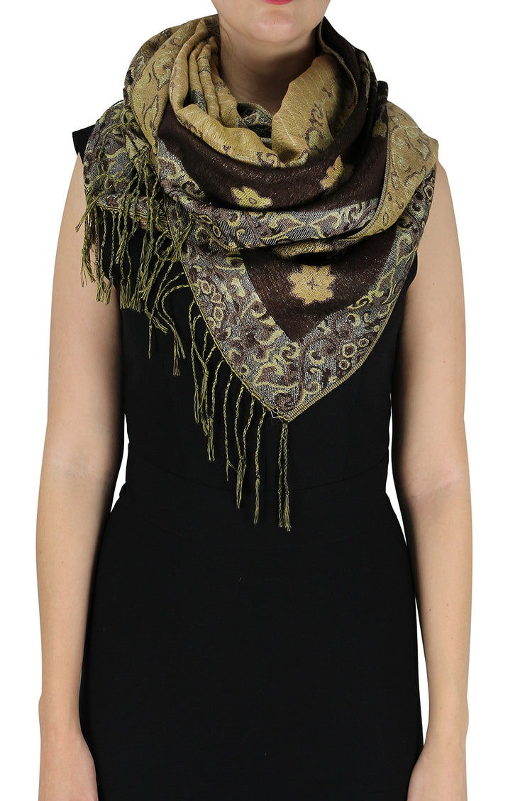 Floral Peacock Reversible Shimmer Layered Pashmina Wrap Shawl Scarf