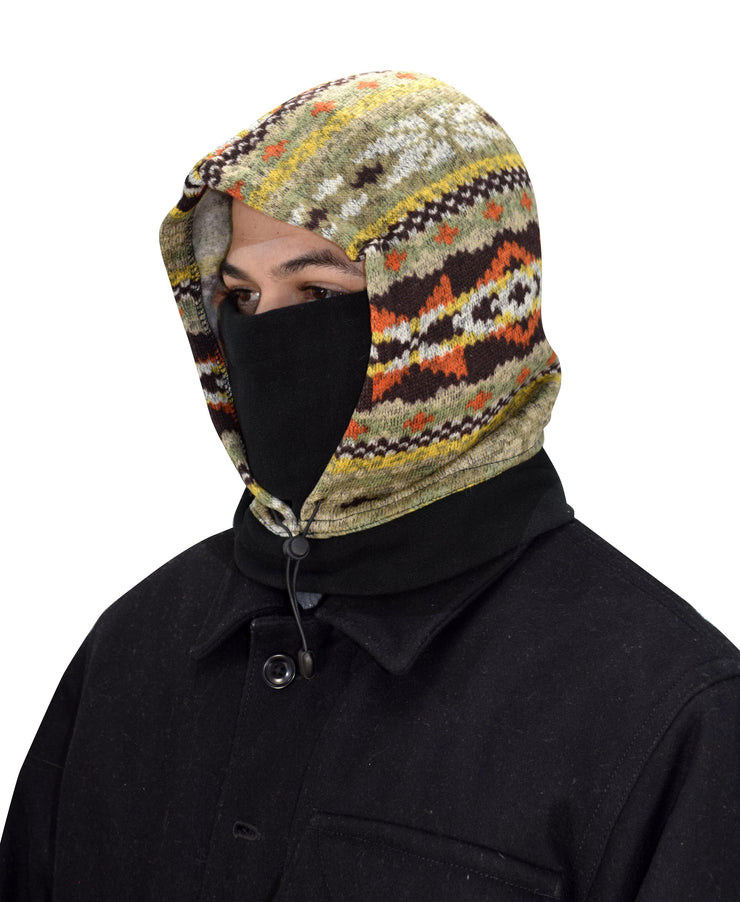 Thick Knit One Hole Facemask Balaclava Snowboarding Biker Mask (Brown/Orange)