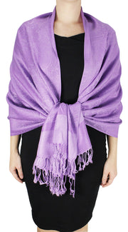 Double Layer Hues of Purple Jacquard Paisley Pashmina Feel Shawl