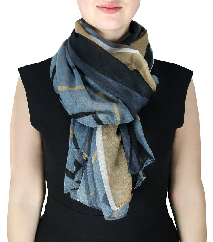 Grey and Taupe Fun Sheer Multicolored Striped Chevron Design Scarf/wrap w/Colorful Border