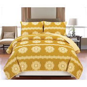 Couture Home Collection Vibrant Luxurious Damask Printed Boho Reversible Soft Comforter 4 Piece Set