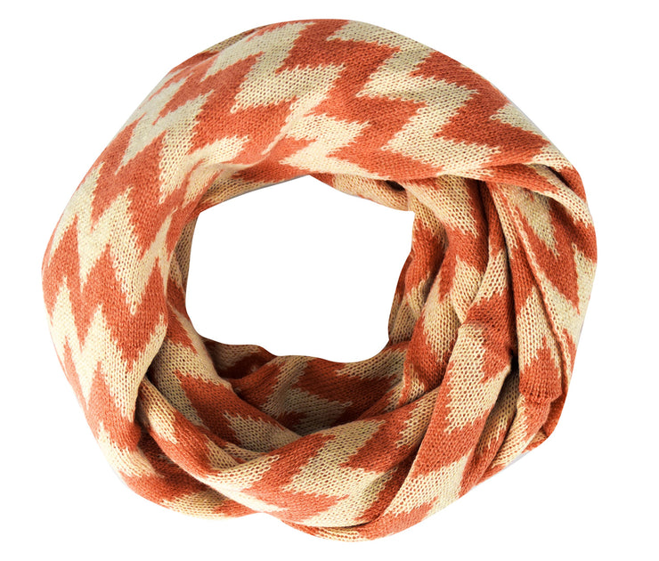Tan Charming Classic Knit Chevron Infinity Loop Scarves