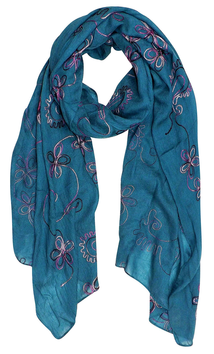 Beautiful Blossoms Embroidery Sheer Scarf Wrap Teal