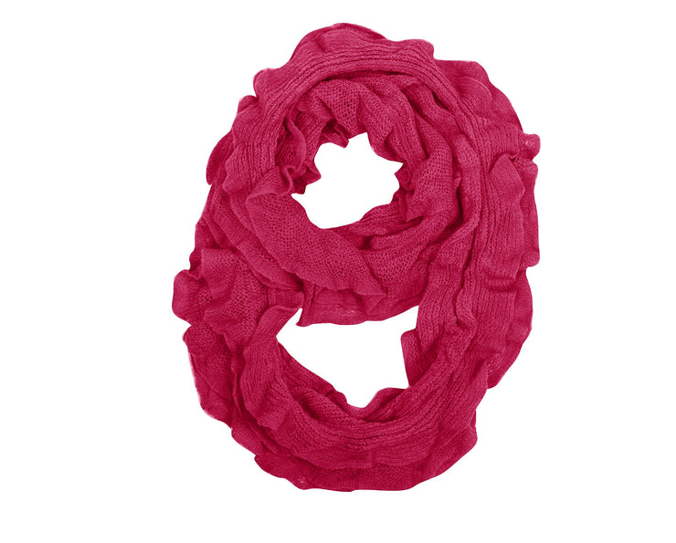 Peach Couture Trendy Solid Color Ruffle Edge Knitted Stretch Infinity Loop Scarf