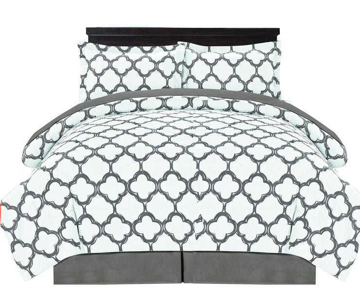 Couture Home Collection Premium Quality Ultra Soft Reversible Fretwork Print Elegant Comforter Bed in Bag 8 Piece Set with Alternative Pillow Shams and Pillowcases