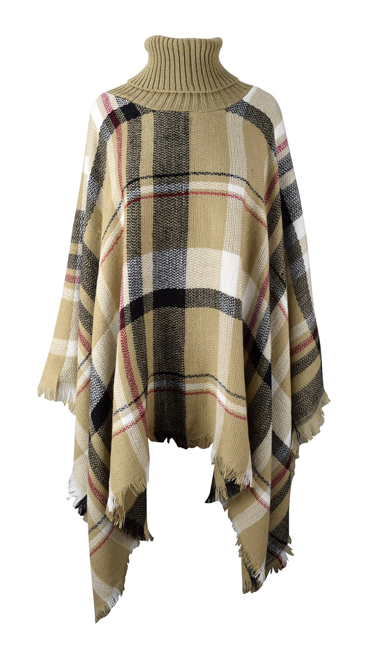 Cowl Neck Plaid Tartan Winter Poncho Sweater Pullovers