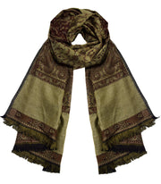 Thick 4 Ply Reversible Paisley Pashmina Blanket Scarf