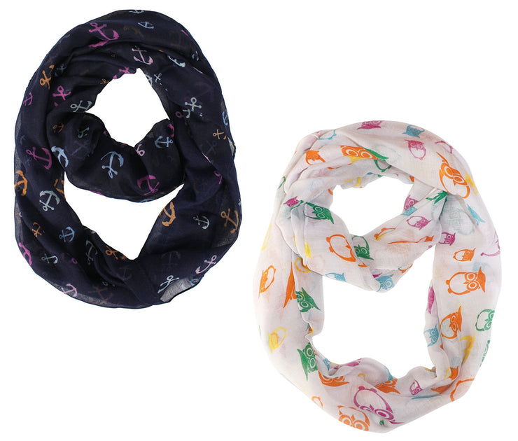 Navy Beige Peach Couture Stunning Colorful Lightweight Vintage Owl Print Infinity Loop Scarf