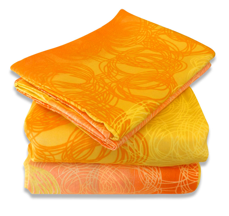 Couture Home Collection Girls Abstract Sunshine Printed Neutral Color 100 % Wrinkle Free Sheet Set-650 Thread (Orange, Queen)
