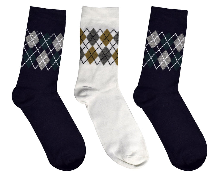 Peach Couture Mens Colorful Argyle 3 Pack Stretch Variety Socks 6-12 Shoe Size