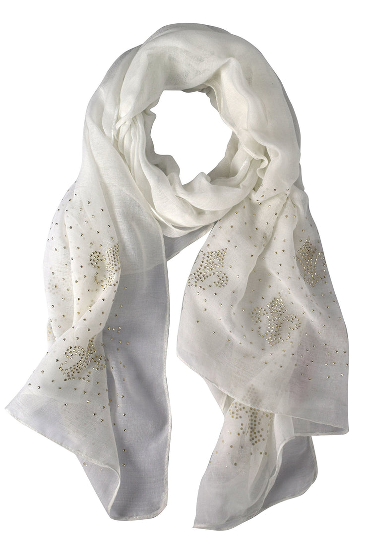 Snow White Peach Couture Classic Glittering Sparkle Studded Scarf Shawl Wrap