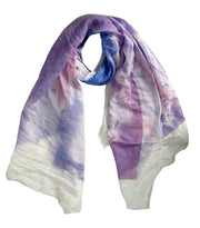 Modern Feather Floral Graphic Print Fringe Shawl Wrap Scarf Coral Purple