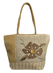 Floral Jute Handbags Multipurpose Shoulder Bags Purse