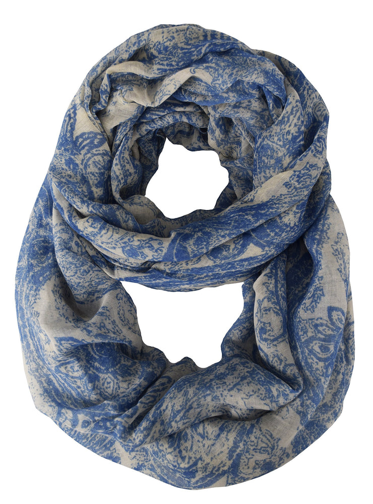 White and Periwinkle Peach Couture Beautiful Graphic Sunflower Paisley Print Infinity Loop Scarf