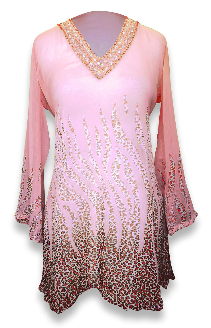 Peach Couture Sheer Multi Print Drape Bathing Suit Cover Up Tunic Top Swim Dress