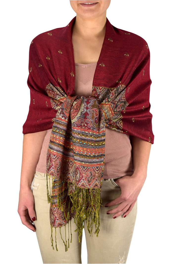 A7405-Tribal-Border-Pashmina-Maroon-RK