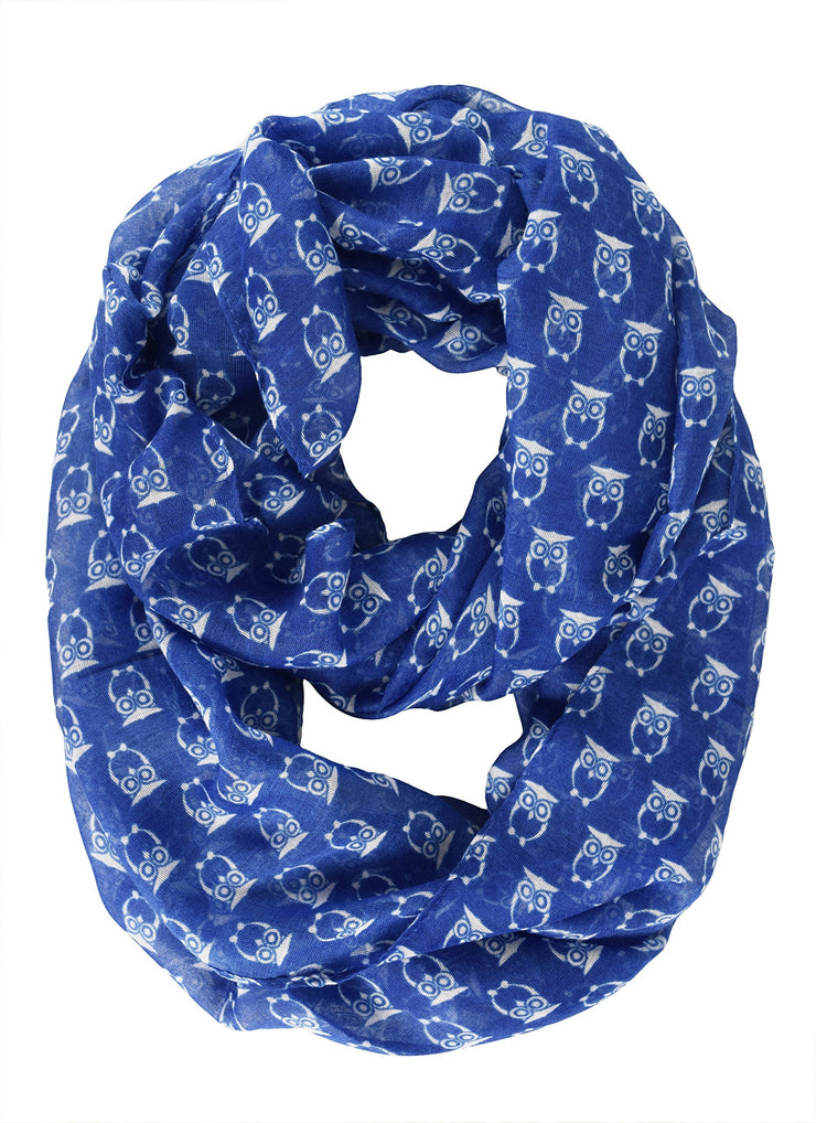 Royal Blue Peach Couture Stunning Colorful Lightweight Vintage Owl Print Infinity Loop Scarf