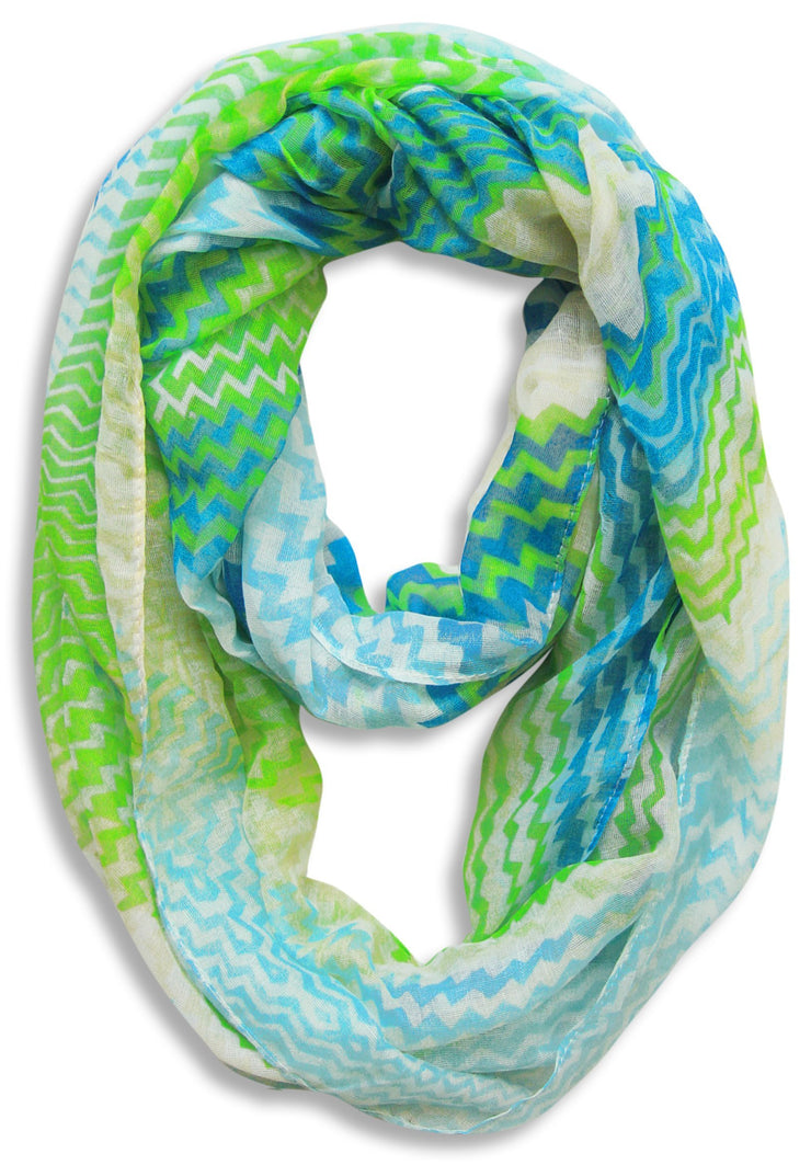 Blue/Green Peach Couture Modern Radiant Multicolored Chevron Geometric Infinity Loop Scarf