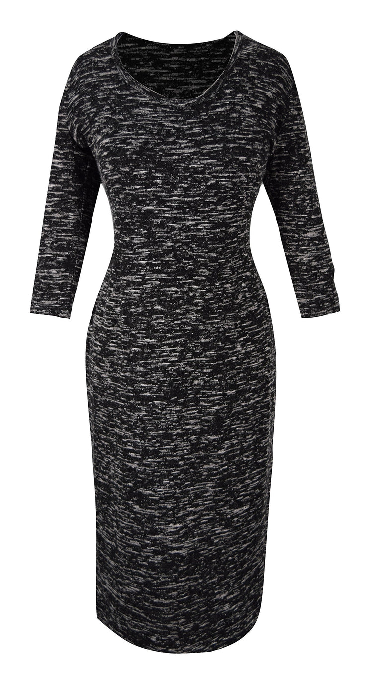 3/4 Sleeves Chic Printed Work Business Party Sheath Slimming Dress Marled Small
