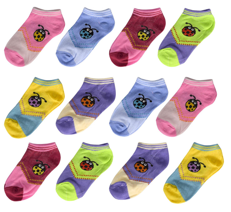 12 Pairs Comfy Fun Colors Toddler Girls Kids Low Cut Ankle Socks No Show Pack (2-4 Years)