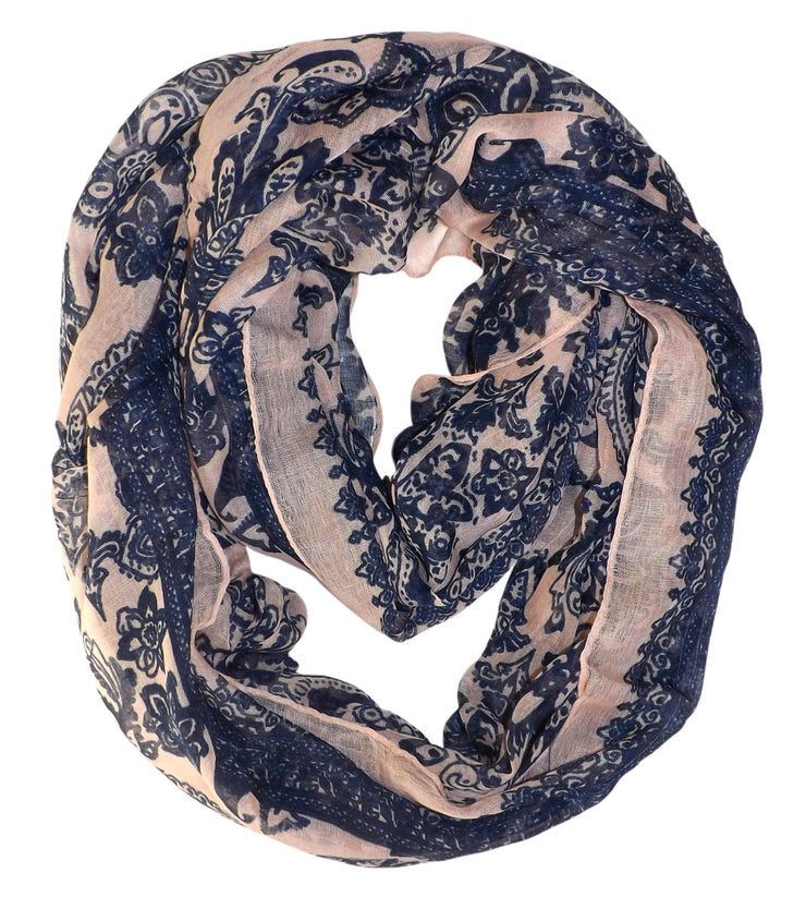 Peach Peach Couture Beautiful Graphic Sunflower Paisley Print Infinity Loop Scarf