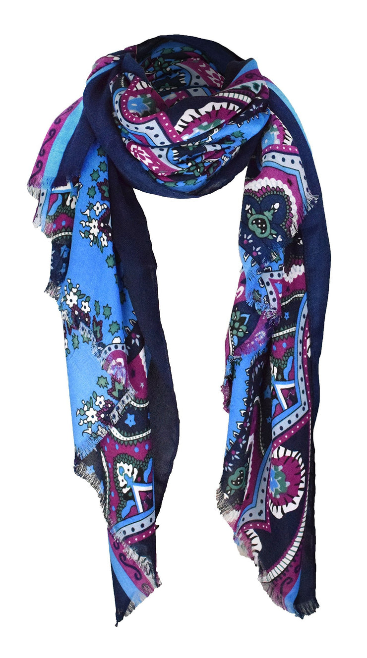 Light Blue/Magenta/Navy Peach Couture Summer Fashion Vintage Damask Pattern long Scarf Shawl Sarong