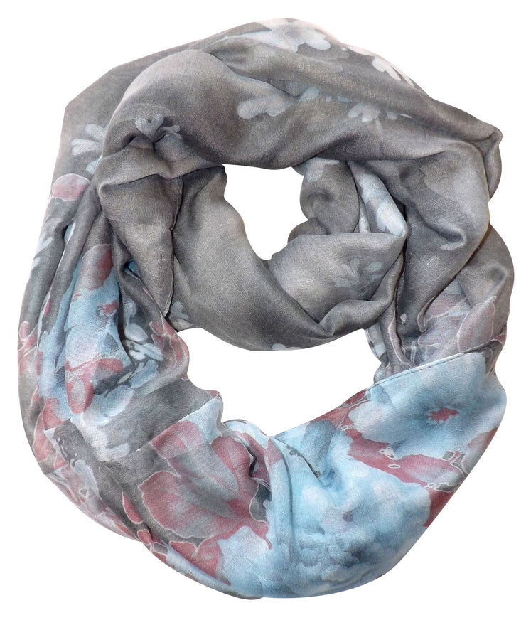 Retro Colorful Faded Hawaiian Hibiscus Flower Infinity Loop Scarf