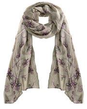 Fall Fashion Embroidered Sheer Floral Scarf Wrap Shawl