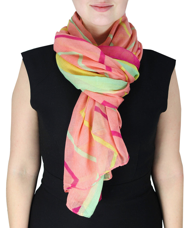 Baby Pink and Yellow Fun Sheer Multicolored Striped Chevron Design Scarf/wrap w/Colorful Border