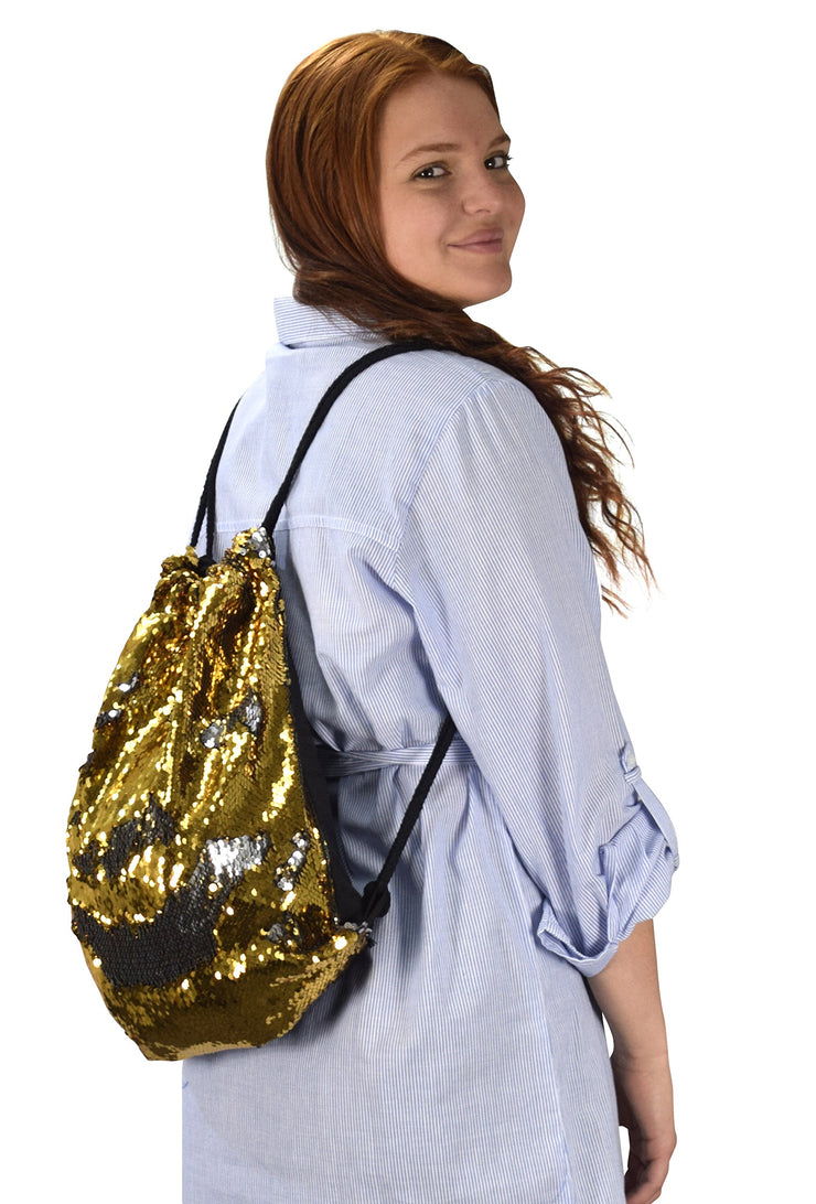 Reversible Sequin Mermaid Drawstring Backpack Fashionable Sports Dance Bag