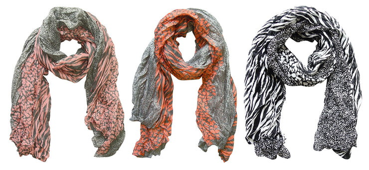Grey/pink, Grey/salmon, Black/white Peach Couture All Seasons Retro Zebra and Leopard Print Crinkle Scarf