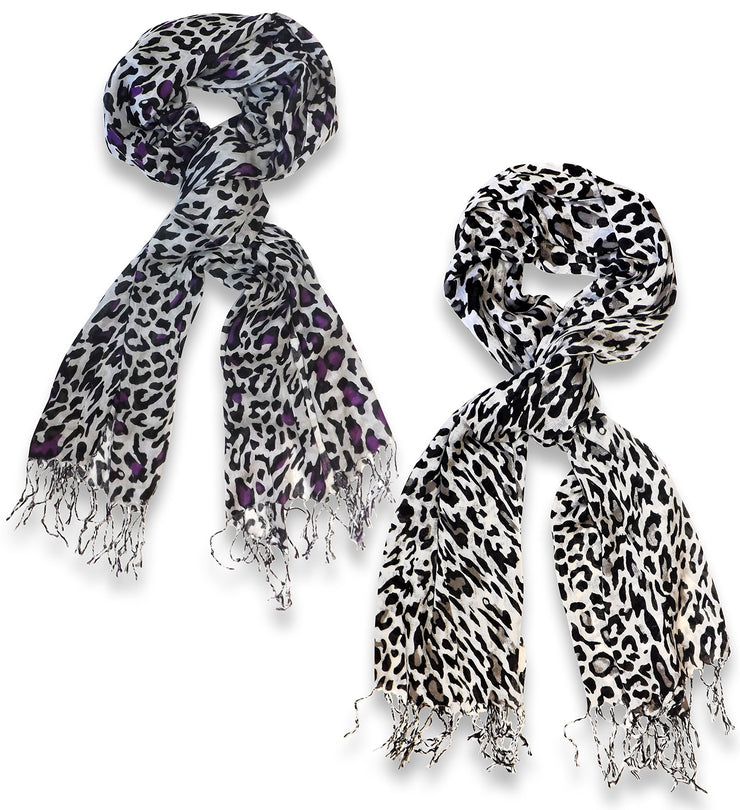 Peach Couture Beautiful Soft and Silky Leopard Print Pashmina Shawl Scarves