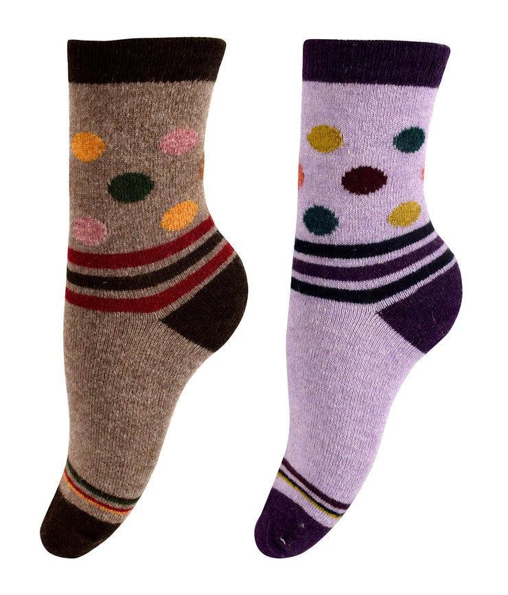 Peach Couture Warm Vintage Style Cotton Wool Knitting Colorful Crew Socks in Packs
