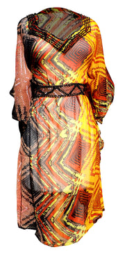 Light Weight Geometric Tribal Print Long Sleeve Fabric Belt Summer Tunic Mini dress ZigZag Orange X-large