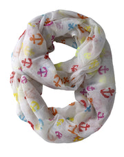 Black All season Infinity Loop Scarves Rainbow Anchor Print