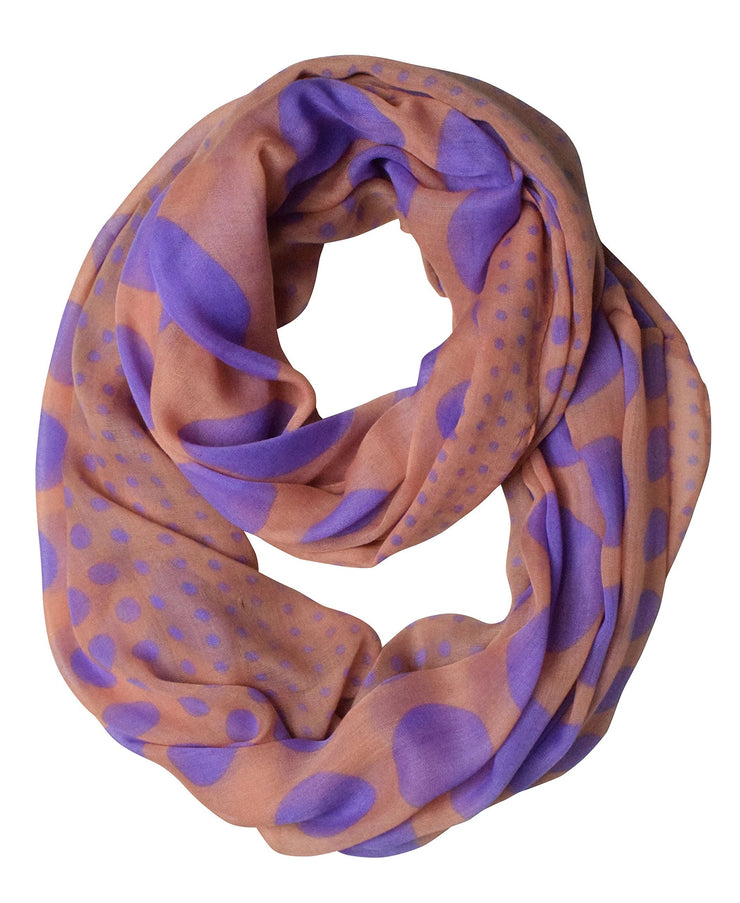 Pink and Purple Peach Couture Vintage Multicolored Classic Bright Polka Dot Infinity Loop Scarf