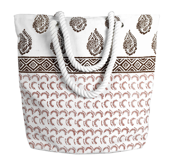 Rope Accent Handle Cotton Canvas Tote Bag Handbags Shoulder Bags