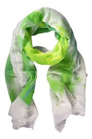 Modern Feather Floral Graphic Print Fringe Shawl Wrap Scarf Green White