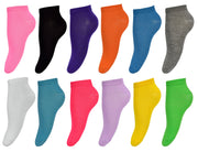 Kids Girls 12 Pack Low Cut Ankle No Show Socks Size 4-6 (Ages 7 to 12)