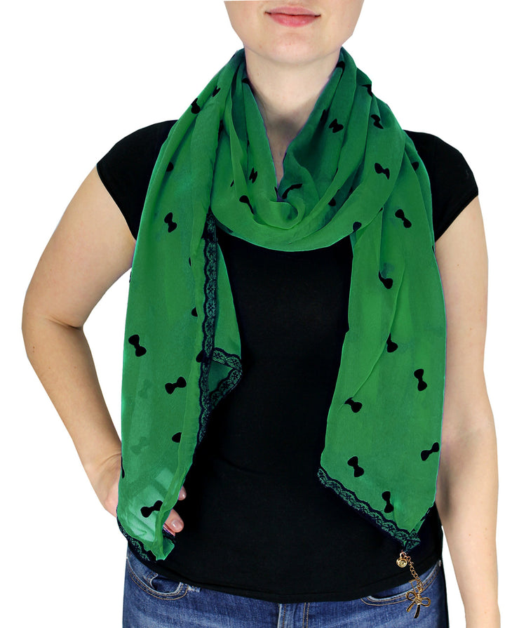 Classy & New Sheer Lace Border Wrap Scarf Stole with Gold Jewelry Charm (Green)
