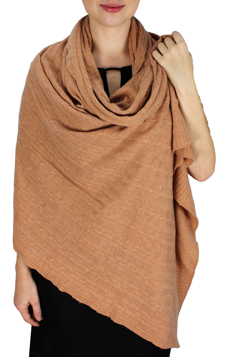 Cable Knit Warm Soft Cashmere Wool Oversized Scarf Shawl