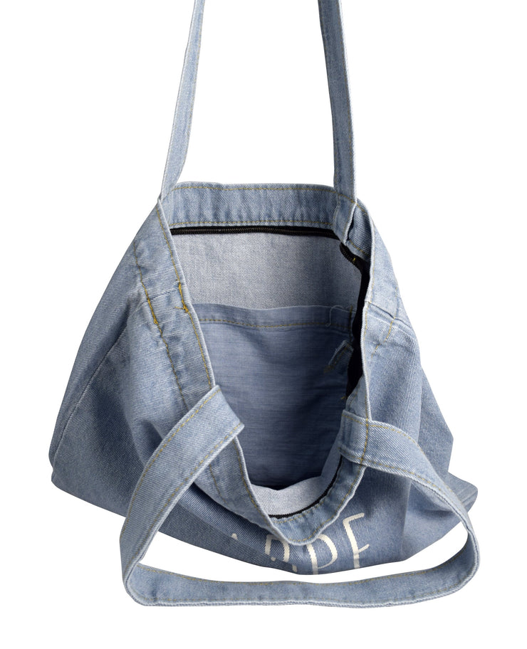 Peach Couture Denim Reusable Cotton Canvas Zipper Tote Laptop Beach Handbags Womens Mens Shoulder Bags