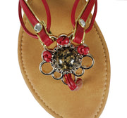 Black Gem Stone Flower Open Back Summer Flip Flop Sandal
