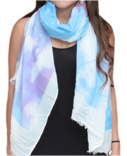 Modern Feather Floral Graphic Print Fringe Shawl Wrap Scarf Purple White