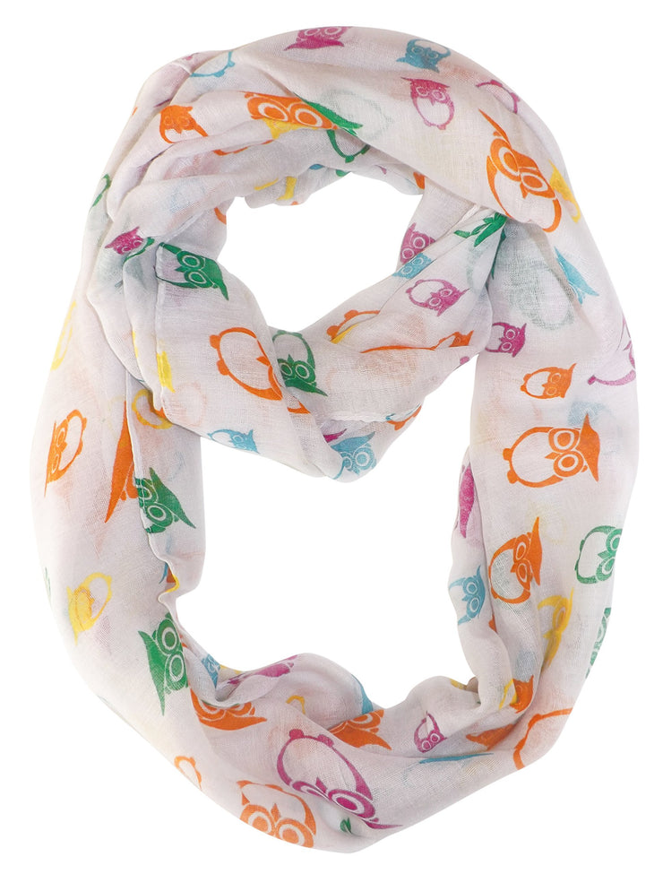 White Peach Couture Stunning Colorful Lightweight Vintage Owl Print Infinity Loop Scarf
