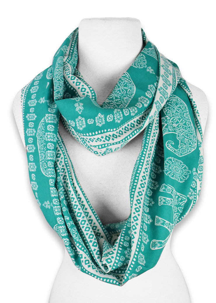 Tribal Paisley Floral Elephant Animal Print Infinity Loop Scarf